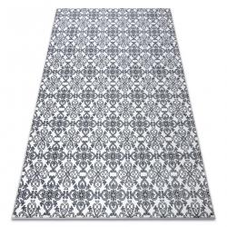 Килим ARGENT - W4949 квіти білі / сірий