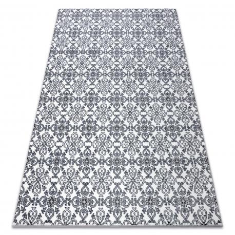 Matta ARGENT - W4949 Blommor vit / grå