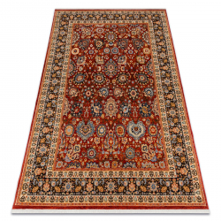 Carpet Wool KESHAN fringe, Ornament, frame oriental 7573/53577 claret / navy