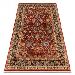 Teppich Wolle KESHAN Franse, Ornament, Rahmen orientalisch 7573/53577 rotwein / dunkelblau