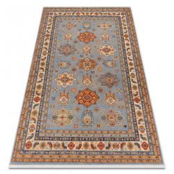 Teppich Wolle KESHAN Franse, Rahmen orientalisch 7683/53544 beige / blau