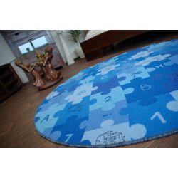 Килим детски пъзели синьо кръг