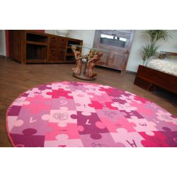 Covor copilăresc Puzzle violet rotund