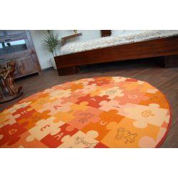 Килим детски пъзели оранжево кръг