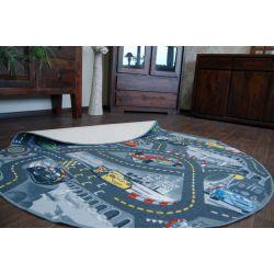 Autók gyermek szőnyeg kör szürke