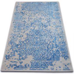 Tapis Vintage 22208/053 bleu / gris rosette classique