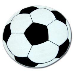 Teppich für Kinder KREIS HAPPY Fußball schwarz und Weiß
