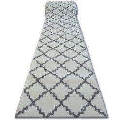 Tapis de couloir SKETCH F343 blanc et gris trèfle marocain trellis